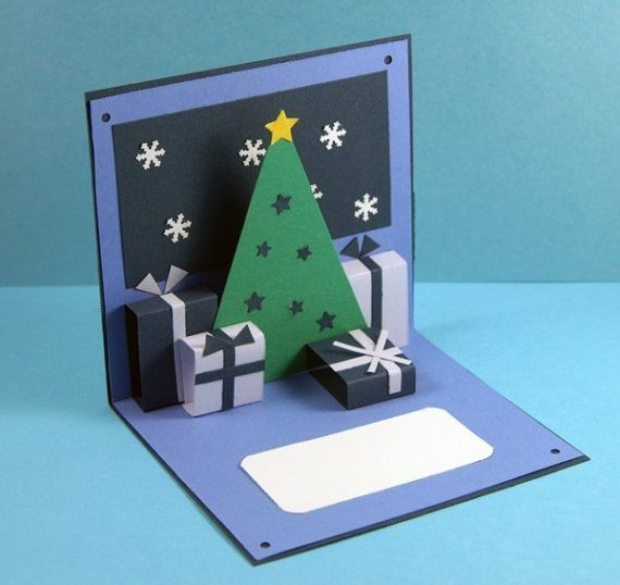 Diy Blue Christmas Holidays Pop Up Card By Shesbattydesigns On Etsy Pop Up Christmas Cards Christmas Cards Kids 3d Christmas Cards