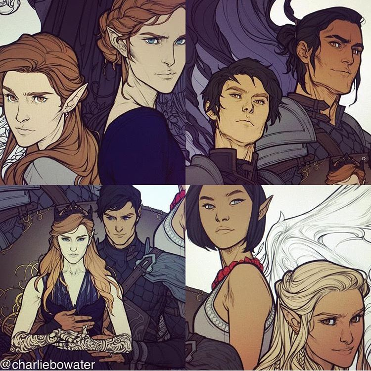 From Top Left Clockwise Elain And Nesta Azriel And Cassian