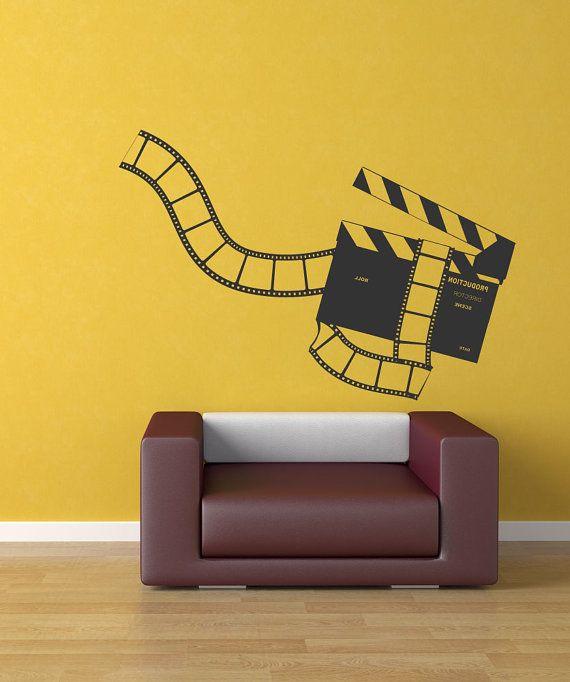 Vinyl Wall Decal Sticker Movie Clapperboard And Film 1169s Etsy In 2020 Vinyl Wall Decals Decal Wall Art Vinyl Wall Art Decals