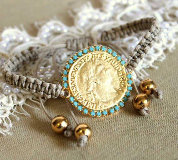 Friendship bracelet gold coin and  turquoise - hand braided.