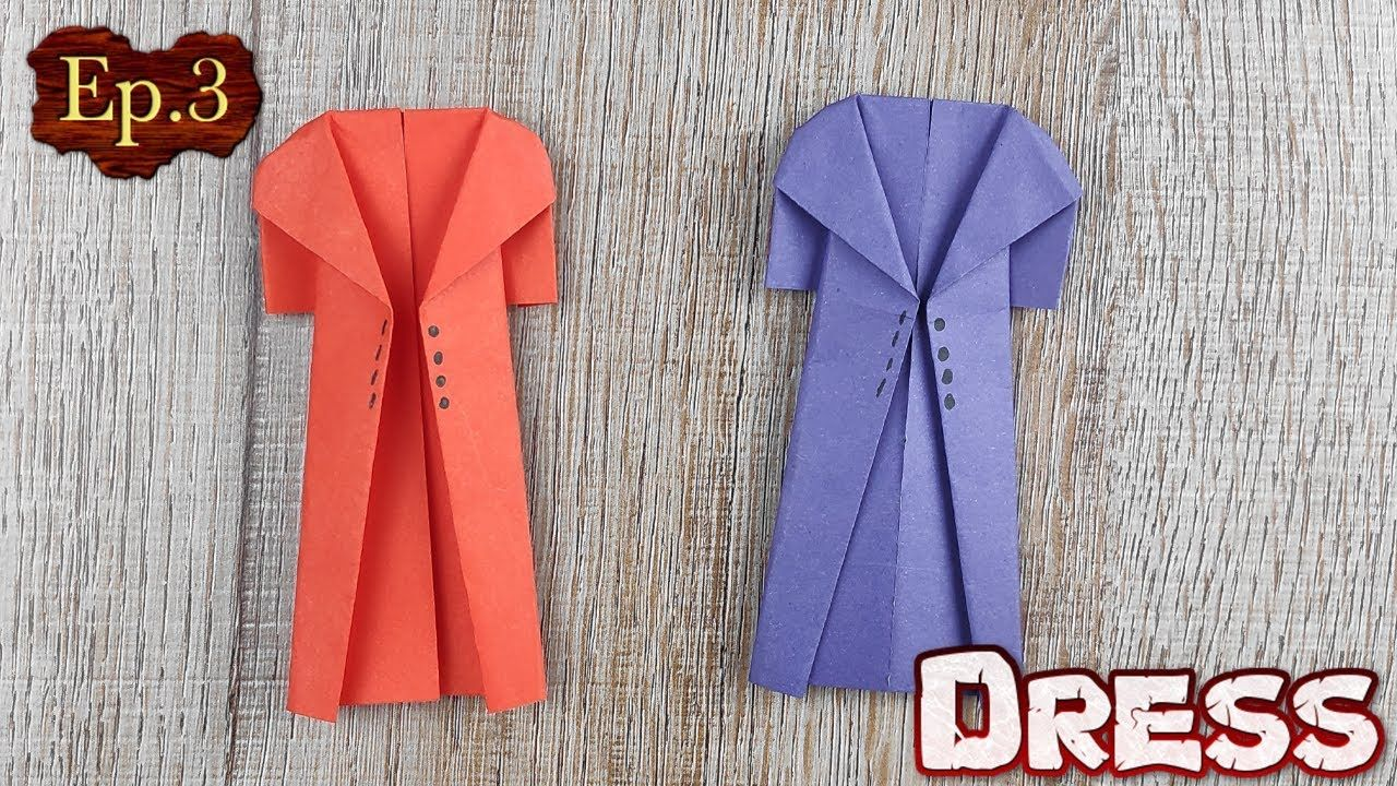 Ep 3 Origami Easy Dress Paper How To Make Origami Dress For Beginner Handmade Paper Crafts Origami Easy Origami Dress