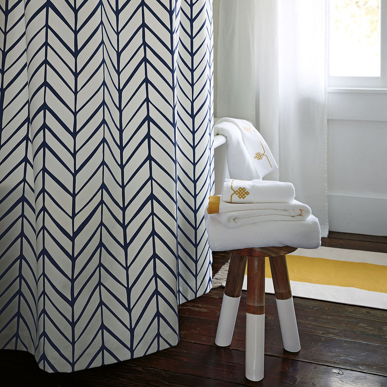 Navy Feather Shower Curtain