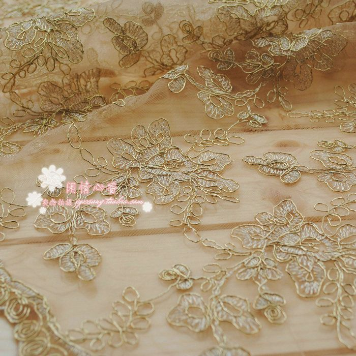 2yards/pack) Light beige bone spur lace car full of gold lace ...