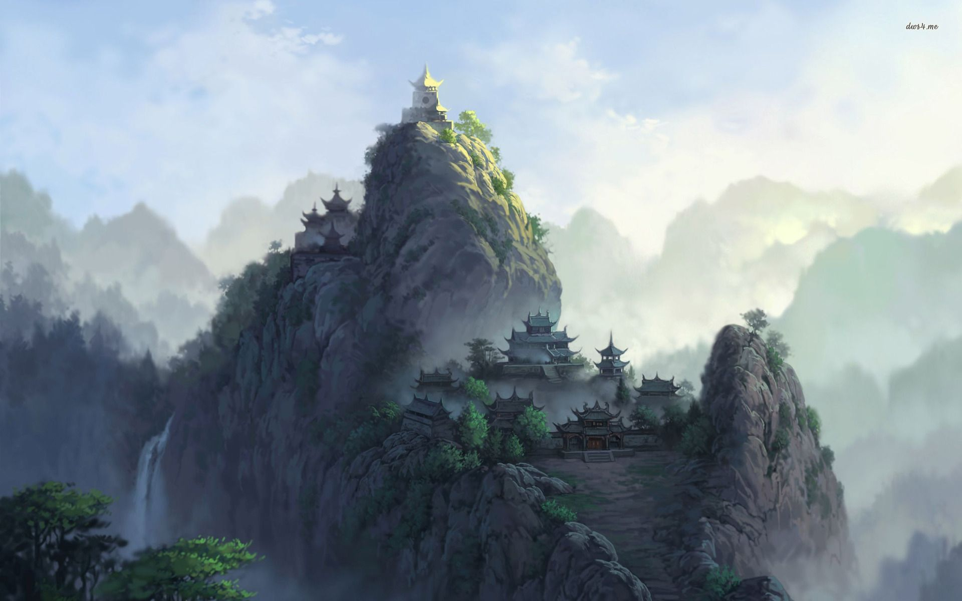 Chinese mountain temple google search chinese temples - Ancient chinese art wallpaper ...