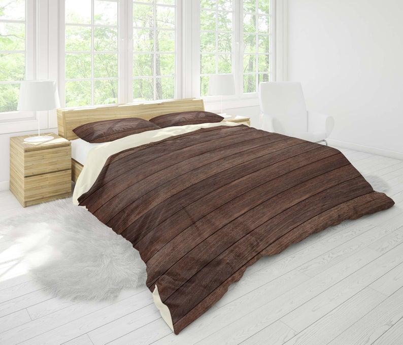 3d Dark Wood Grain Bedding Set Quilt Cover Quilt Duvet Cover Etsy Quilted Duvet Cover Bedding Set Quilt Cover Sets