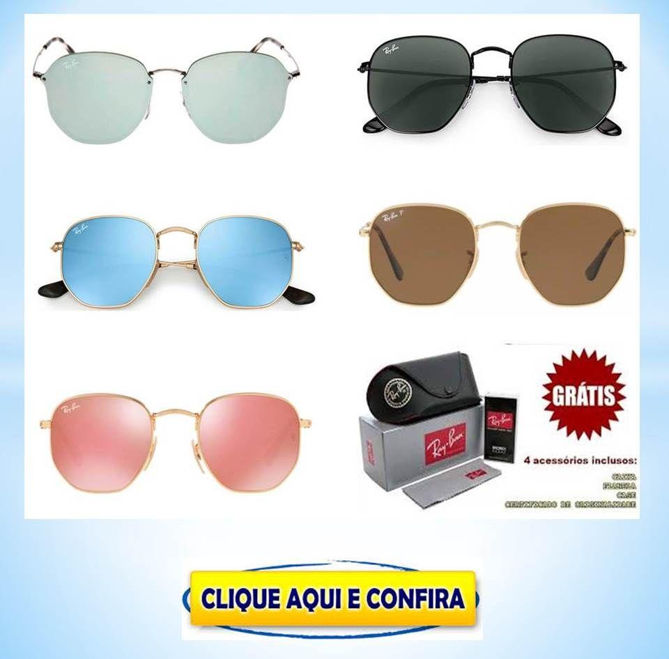 Oculos De Sol Rayban Hexagonal Masculinos E Femininos Super