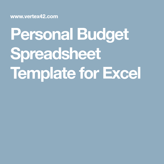 Personal Budget Spreadsheet Template for Excel | Excel | Pinterest ...