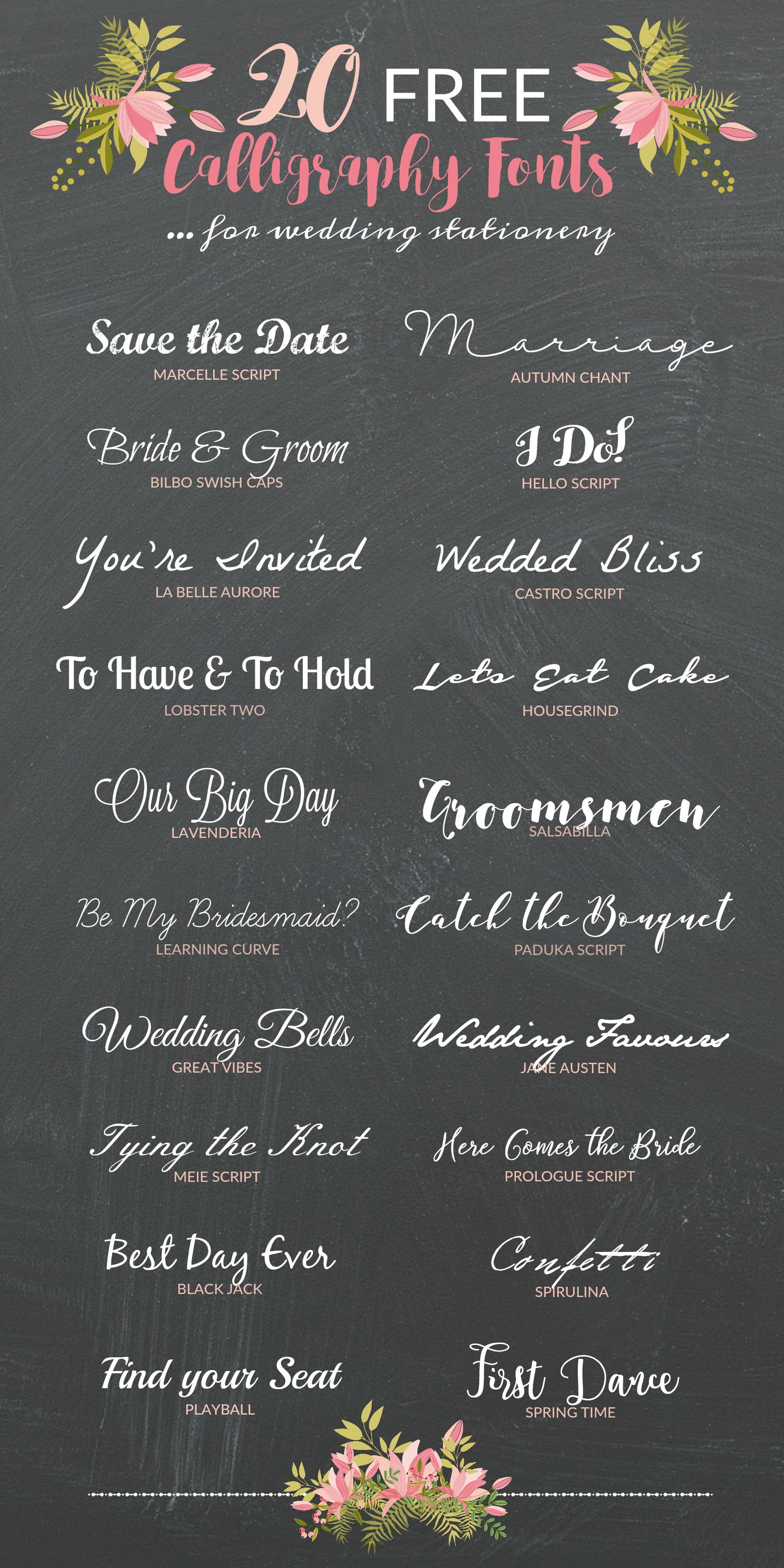 FREE Calligraphy Fonts for Drop Dead Gorgeous Wedding Stationery ...