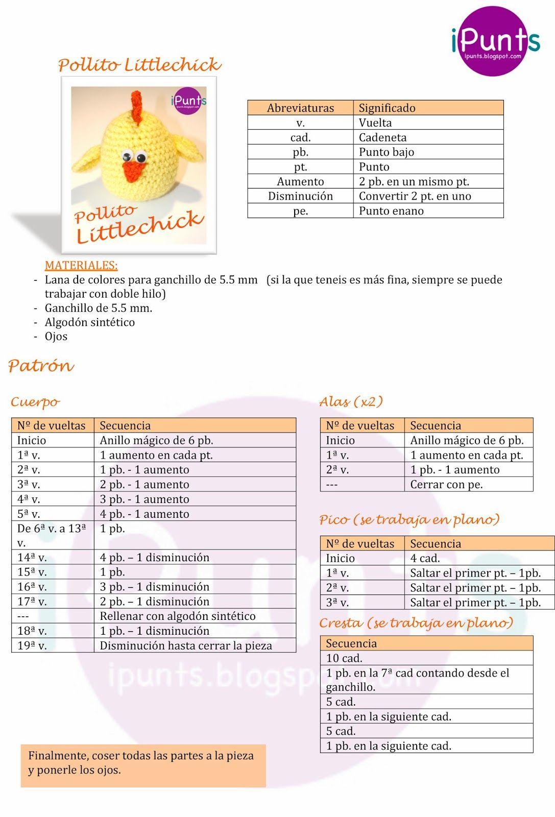 Pollito Littlechick. Amigurumi. Patrón gratis en el blog de ipunts ...