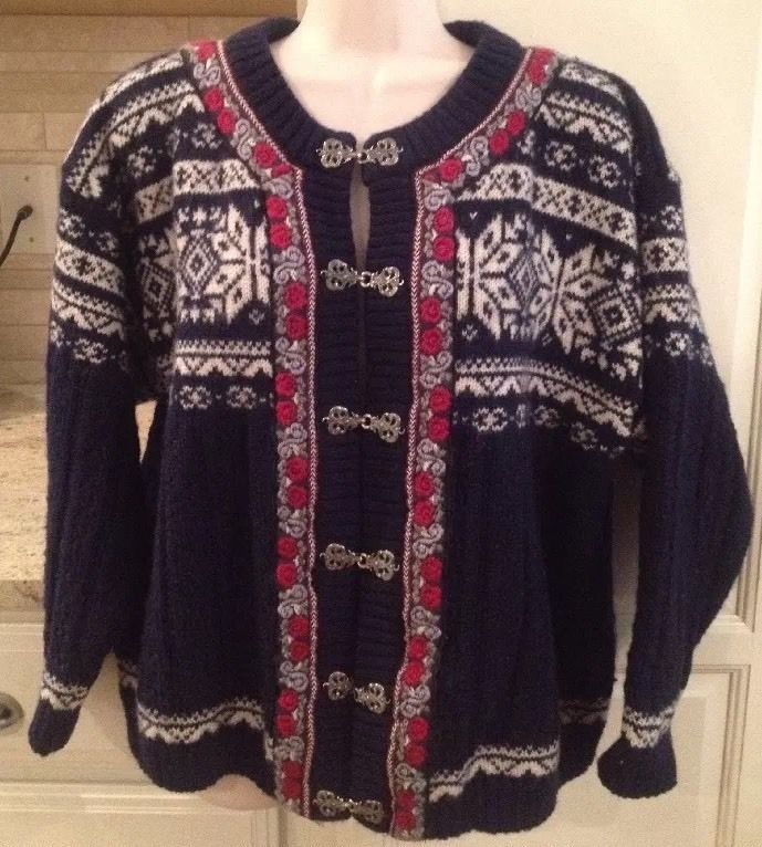 NORWEAR Size S NORDIC Sweater CARDIGAN FAIR ISLE Snowflake METAL ...
