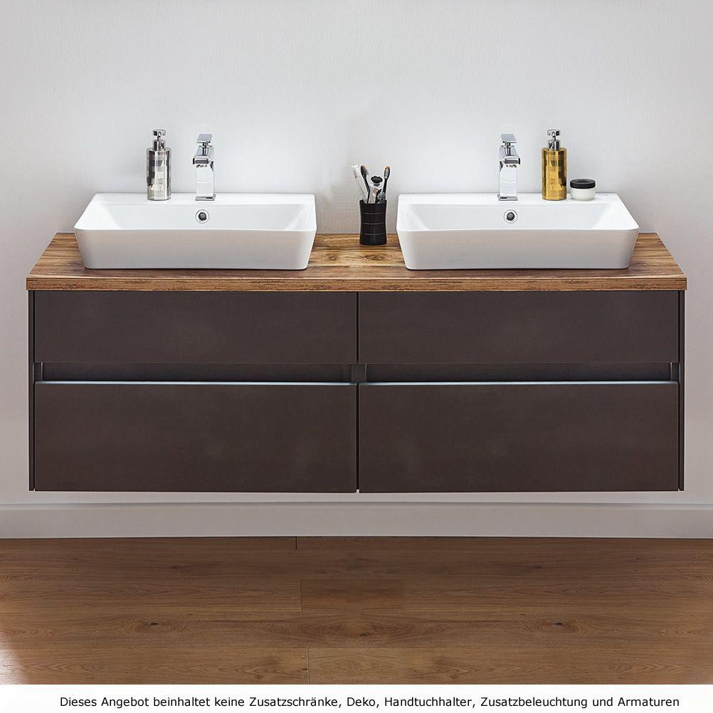 Puris UNIQUE Waschtisch als Set 15 cm Doppelwaschplatz mit