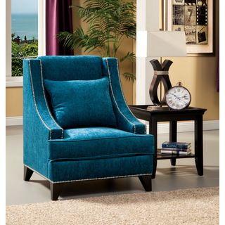 Furniture Of America Tropak Fabric Nailhead Trim Accent Chair (Teal), Blue