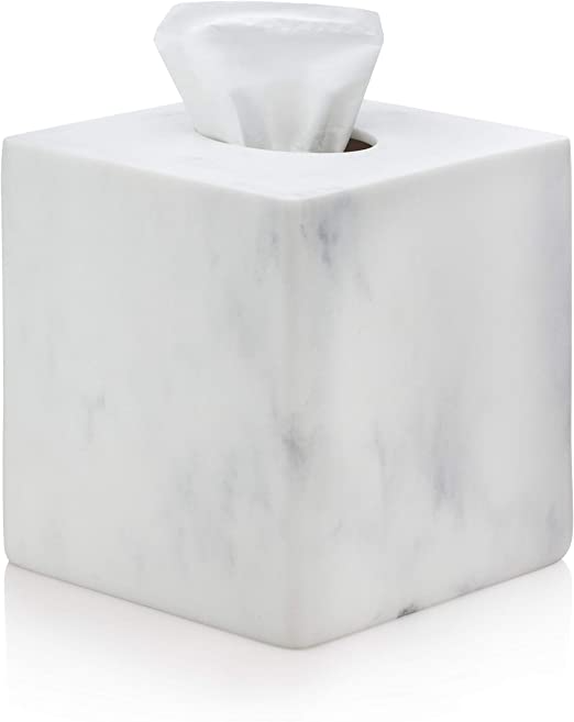 Amazon Com Essentra Home White Square Tissue Box Cover For Vanity Countertops Home Kitchen In 2020 Vanity Countertop Tissue Box Covers Tissue Boxes
