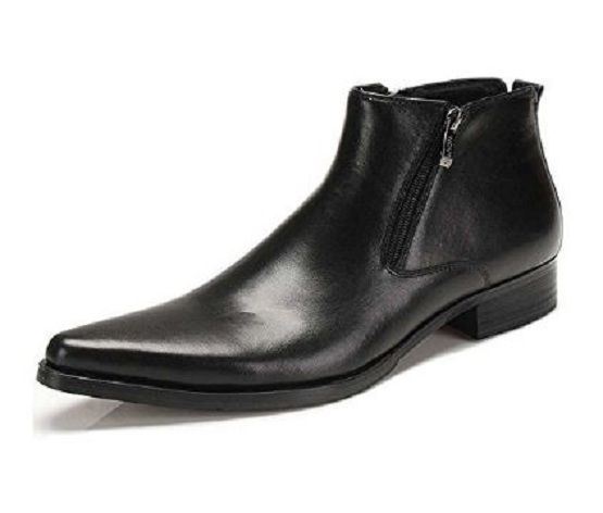 Fulinken Leather Zipper Formal Dress Ankle Boots Fashion Mens Chukka Shoes