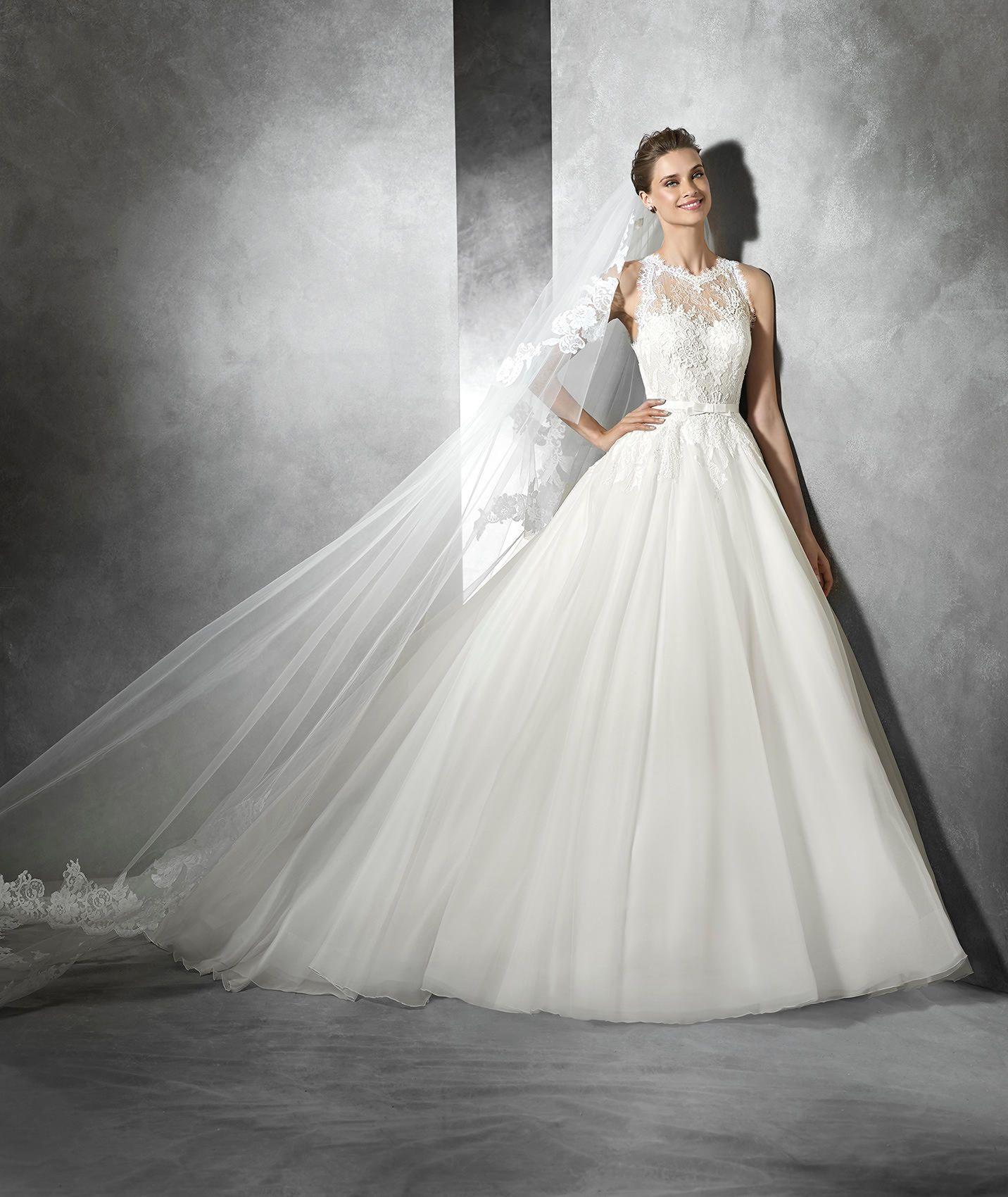 Tekla wedding dress with gemstone embroidery and sweetheart tekla wedding dress with gemstone embroidery and sweetheart neckline pronovias ombrellifo Choice Image