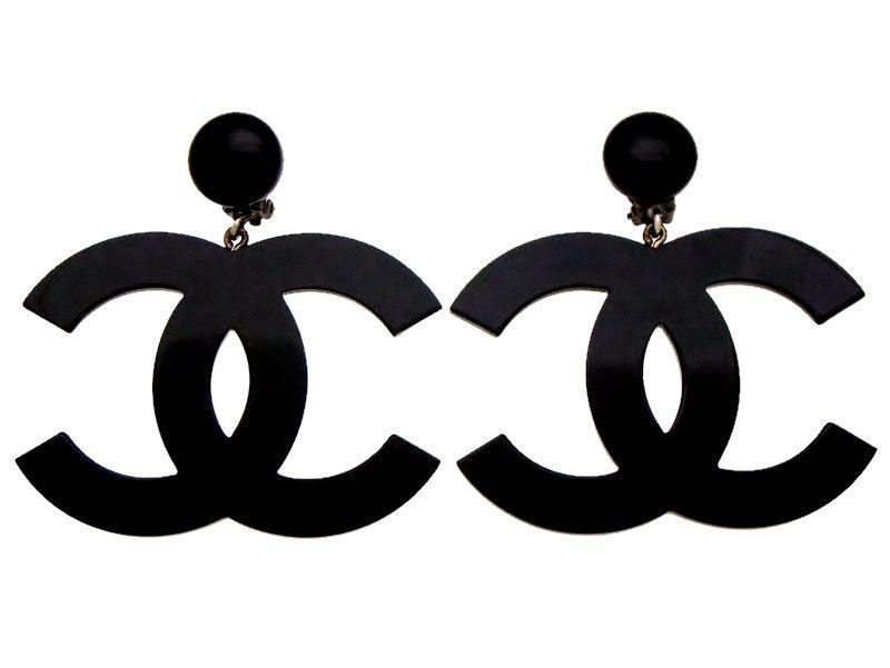 Vintage Chanel earrings big black CC logo plastic dangle ...