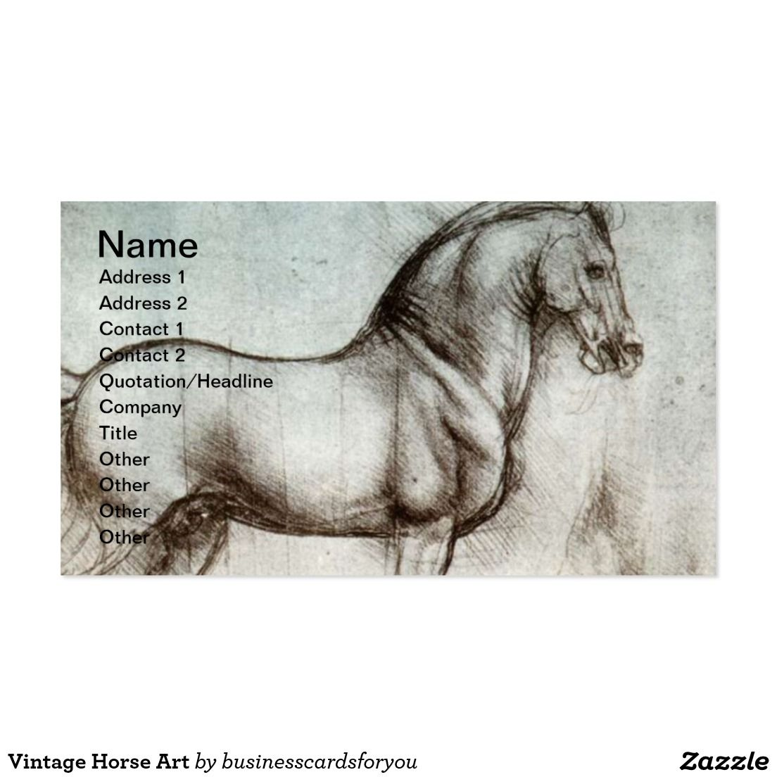 Vintage horse art business card business cards pinterest vintage horse art business card reheart Gallery