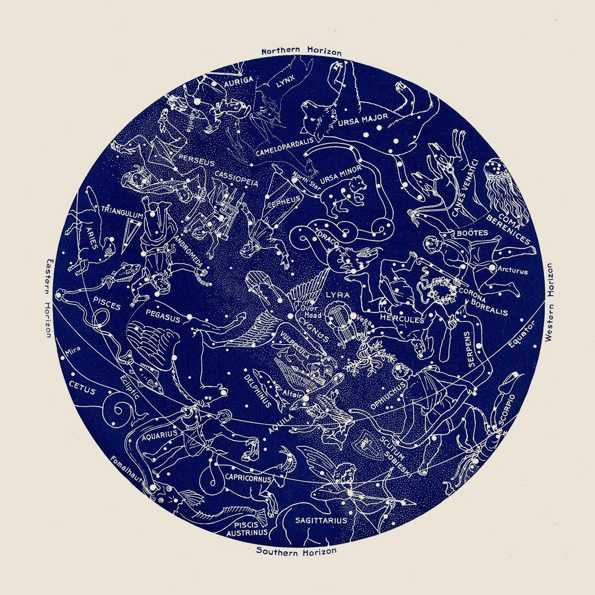 Antique Constellation Map Blue Star Chart Blue by CapricornPress ...