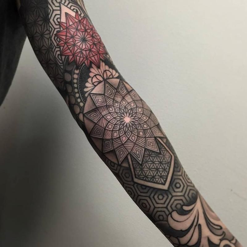 Geometric Flower Tattoo Sleeve: 73 Awesome Geometric Tattoo Designs