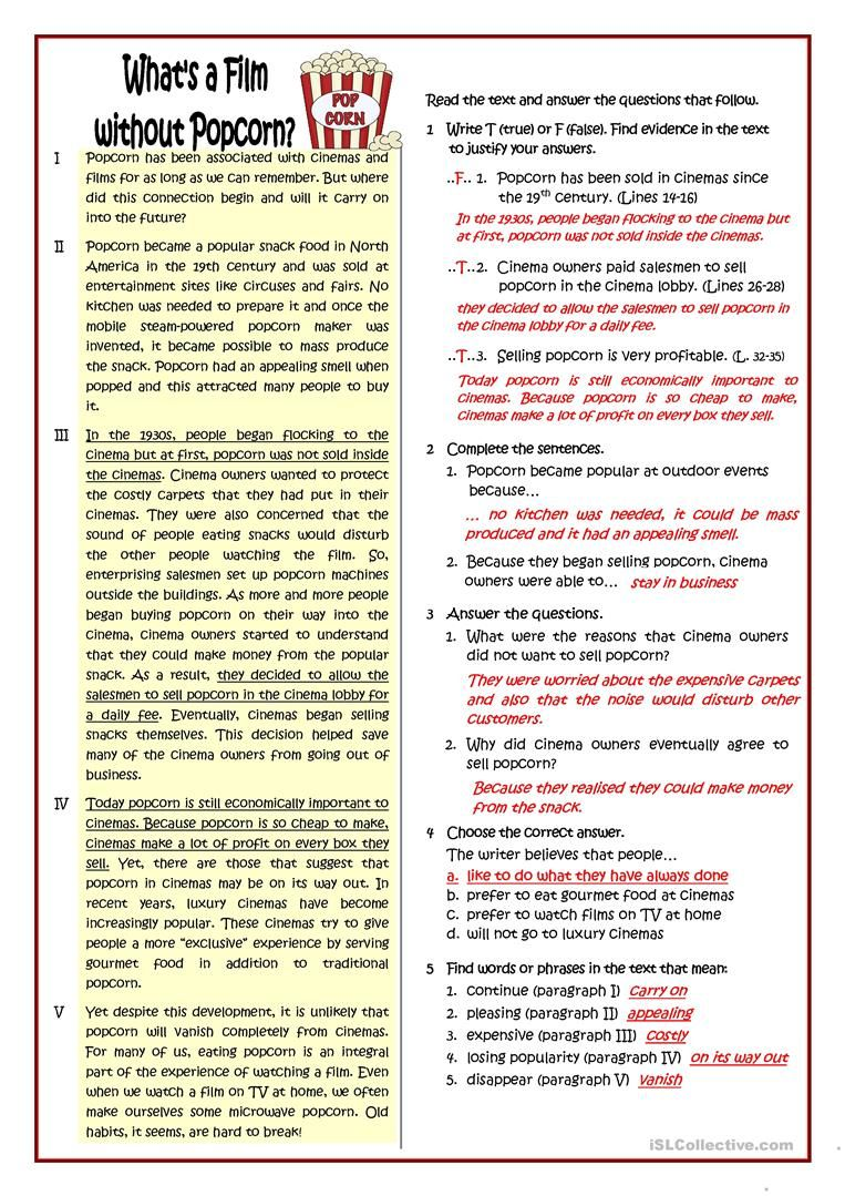 What A Film Without Popcorn Worksheet Free Esl Printable Worksheets Made By Teachers Reading Comprehension Worksheets This Or That Questions Teaching Jobs [ 1079 x 763 Pixel ]
