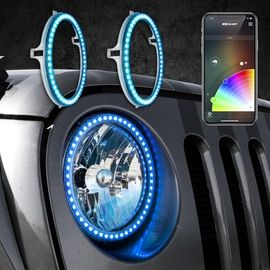 RGB Halo Kit for Jeep Wrangler   XKchrome Smartphone App