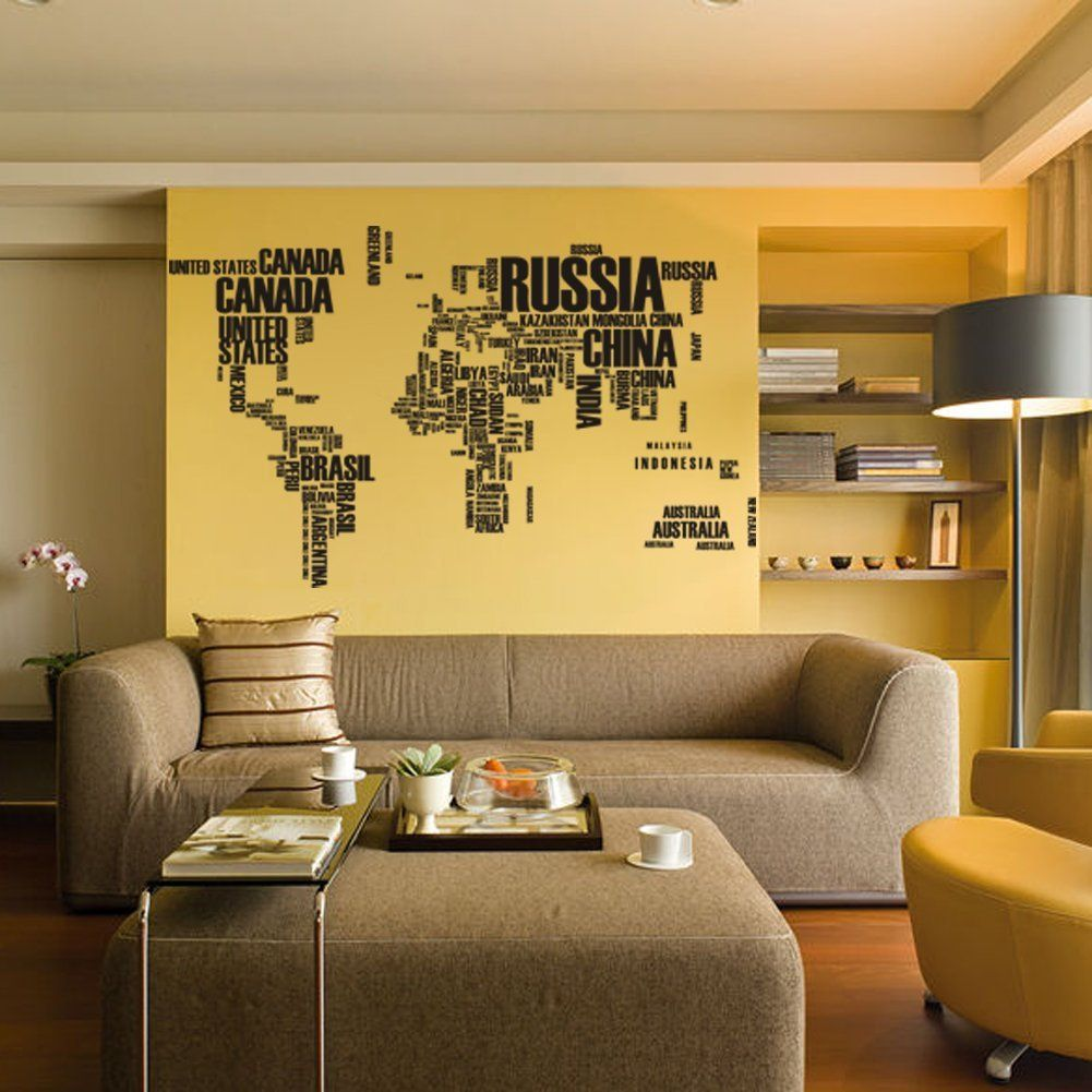 The World Map Consists of Words -Vinyl Wall Lettering Stickers ...