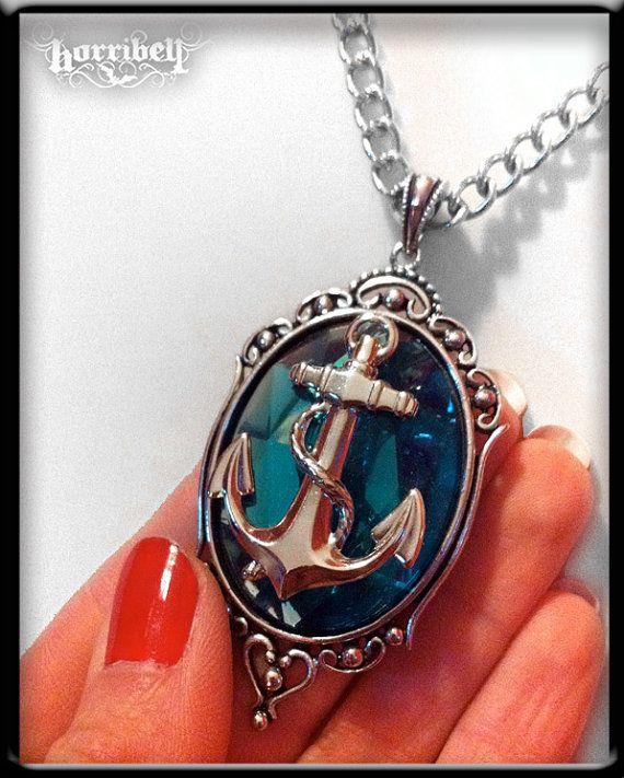 Anchor Necklace Light Aqua Anchor Pendant Nautical by horribell