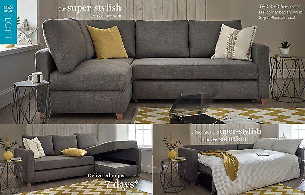 loft charcoal sofa bed rustic leather uk tromso corner left hand m s ja pinterest