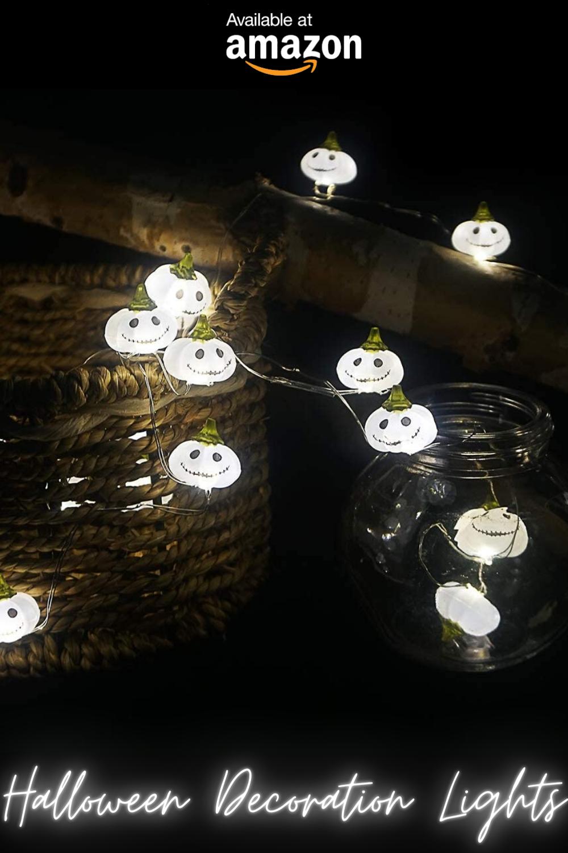 Halloween Window Lights Decoration Idea, White Pumpkin Scary Lights For Indoor, Table & Livingroom