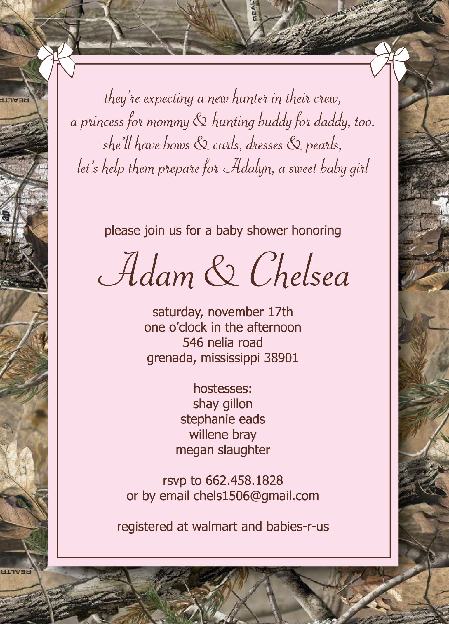 pink camo baby girl shower invitation | Camo Baby Shower | Pinterest ...