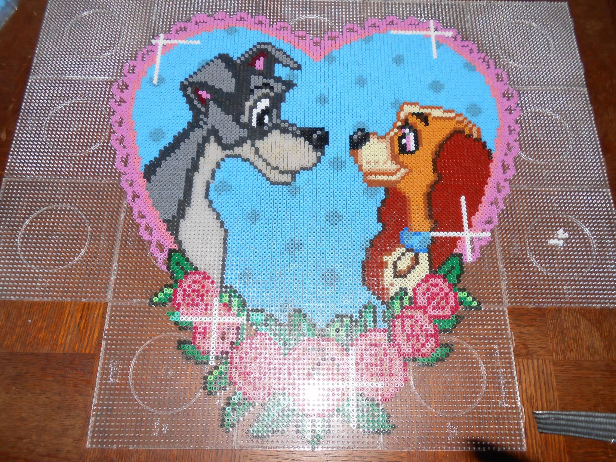 Disney lady and the tramp heart hama beads 18 pegboards by swarovski crafty - Coeur perle a repasser ...