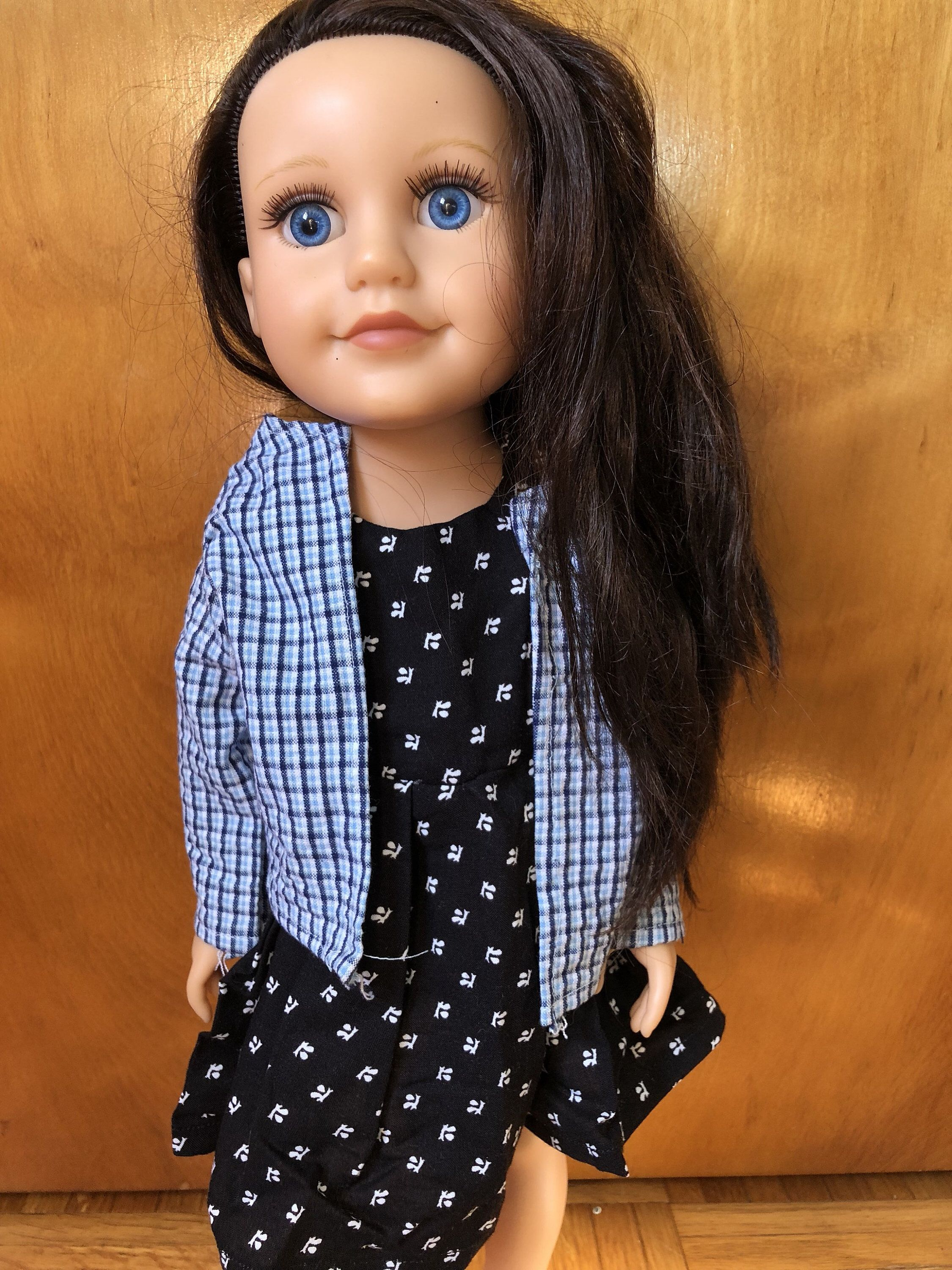 blue flannel shirt, american girl long sleeve shirt/ american girl doll shirts/ 18 inch doll shirt/ checkered shirt/ 18 inch doll clothes #18inchdollsandclothes