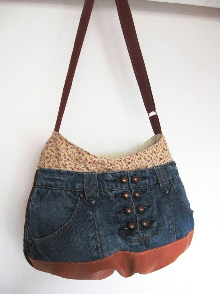 Sac jean cuir denim recyclé upcycling,sac patchwork,country