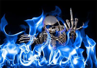 SKULL FLAMES DECAL STICKER BIKER MOTORCYCLE HOT ROD TATTOO ART HARD ROCK MUSIC