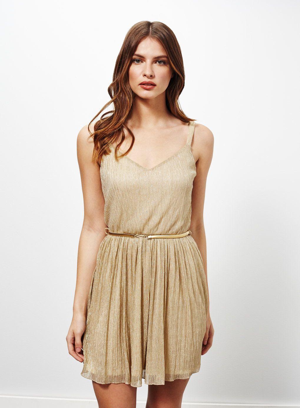 1e8ab821dc87 Petites Gold Skater Dress - Miss Selfridge