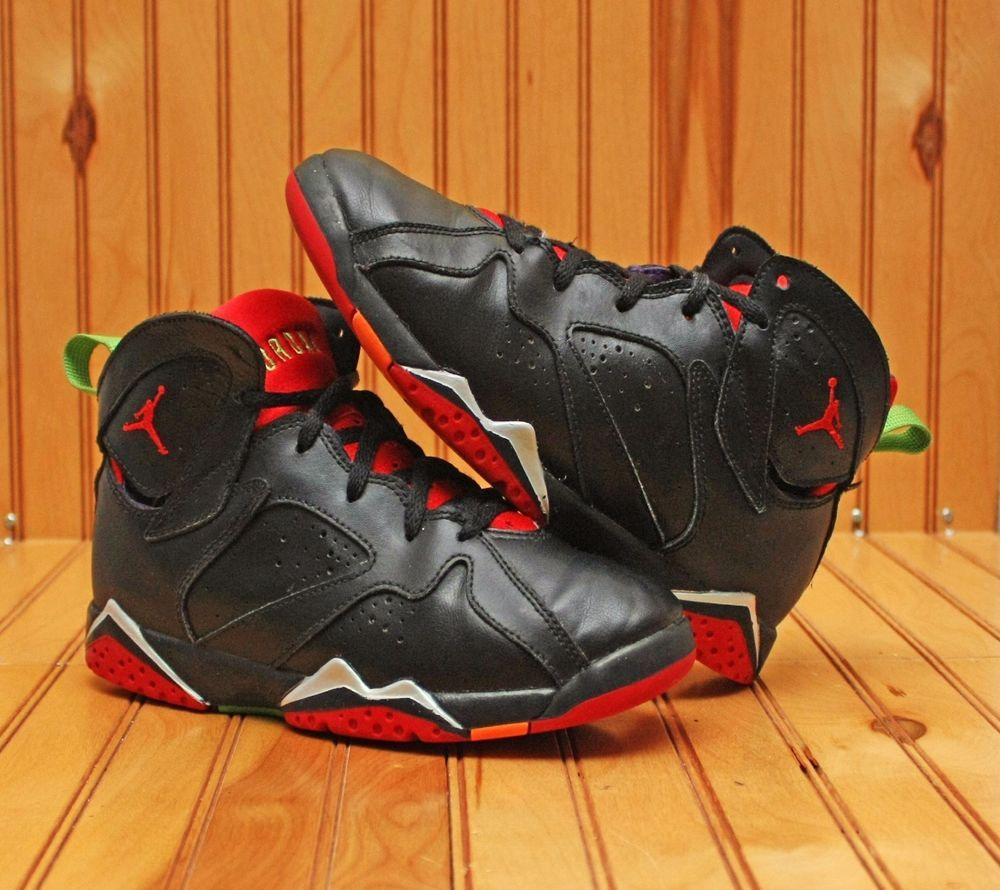 Nike Air Jordan Vii 7 Retro Size 3y Black Red Marvin The Martian