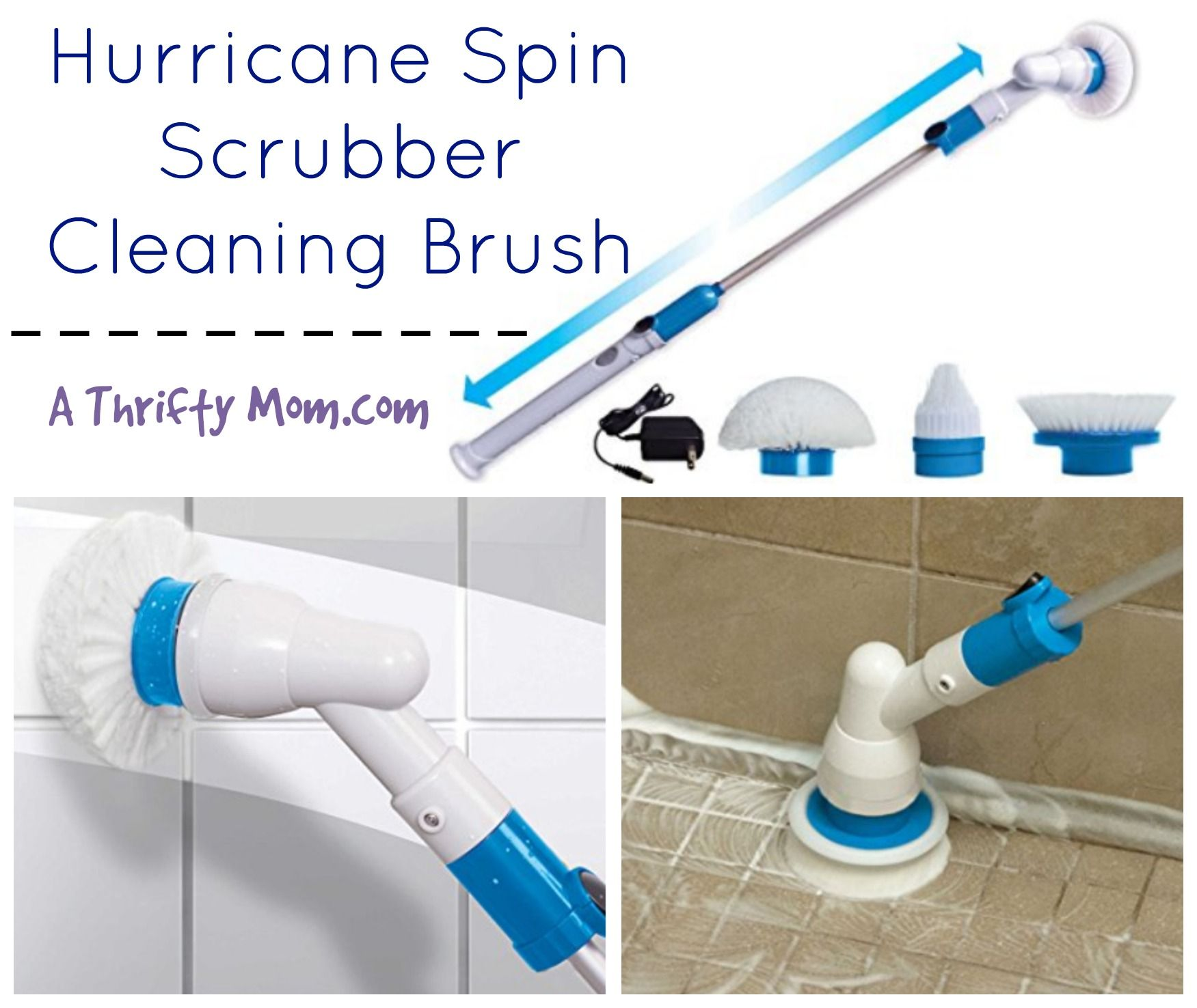 Hurricane Spin Scrubber Cleaning Brush Clean Bathrooms Kitchens