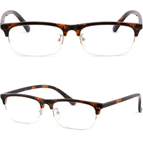 e5052e71b65 Half Rim Mens Women Frame Browline Prescription Glasses Tortoiseshell LuGao  http   www.