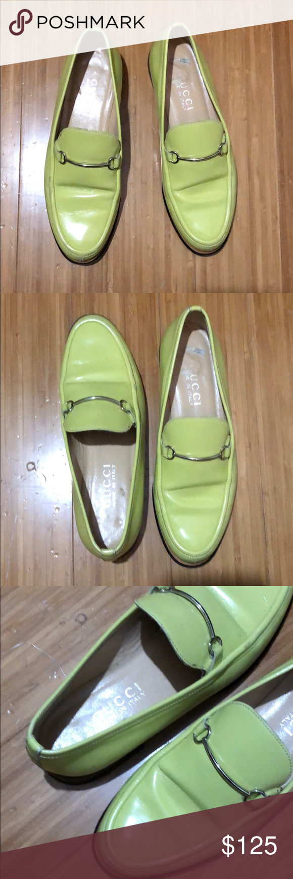 5821029ac24 Gucci Neon Lime Horsebit Loafers GUC - neon lime yellow leather Horsebit  loafers - US 6B