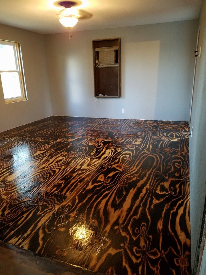 Plywood Sheet Flooring Bob Schoenfelder Burned Plywood Floor Featured On Remodelaholic Burnt Plywood Floor Diy Flooring Plywood Floor