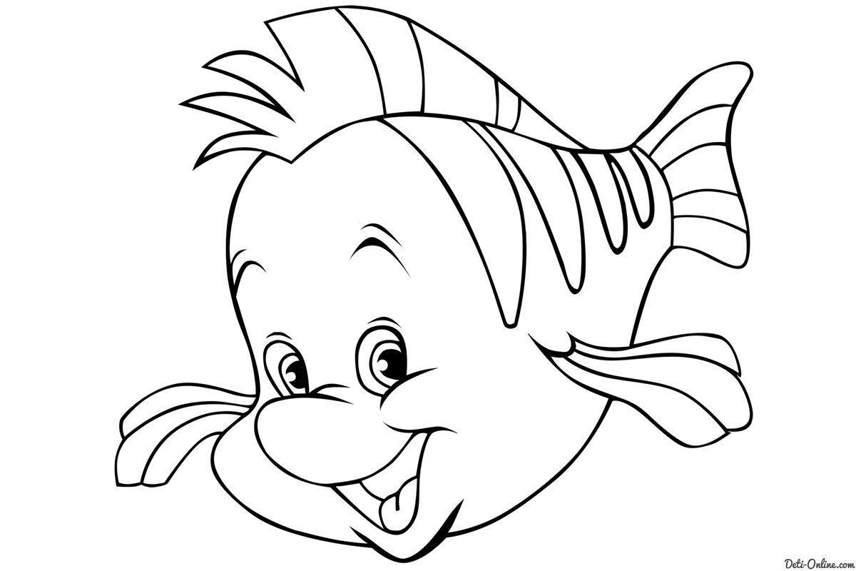 Flounder Little Mermaid Colouring Pages