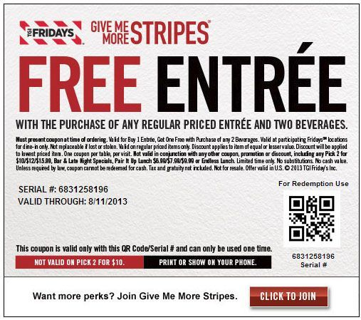 picture relating to Tgifridays Printable Coupons identified as TGI Fridays: Totally free Entree Printable Coupon Great Things inside of