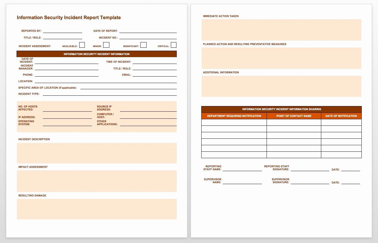 Incident Response Report Template New Free Incident Report Templates Smartsheet Report Template Incident Report Templates It incident response plan template