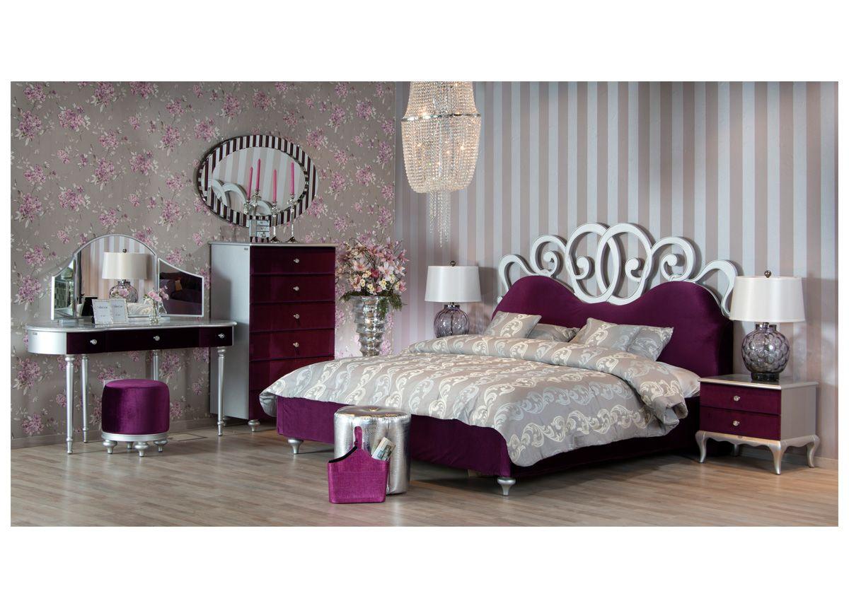 غرفة نوم تدمج العصرية في اللون العن ابي الغامق والحو اف الفضية لتكمل مملكتك كما تريدين غرف نوم أثاث عصري فضي مملكة Furniture Bedroom Furniture Home Decor