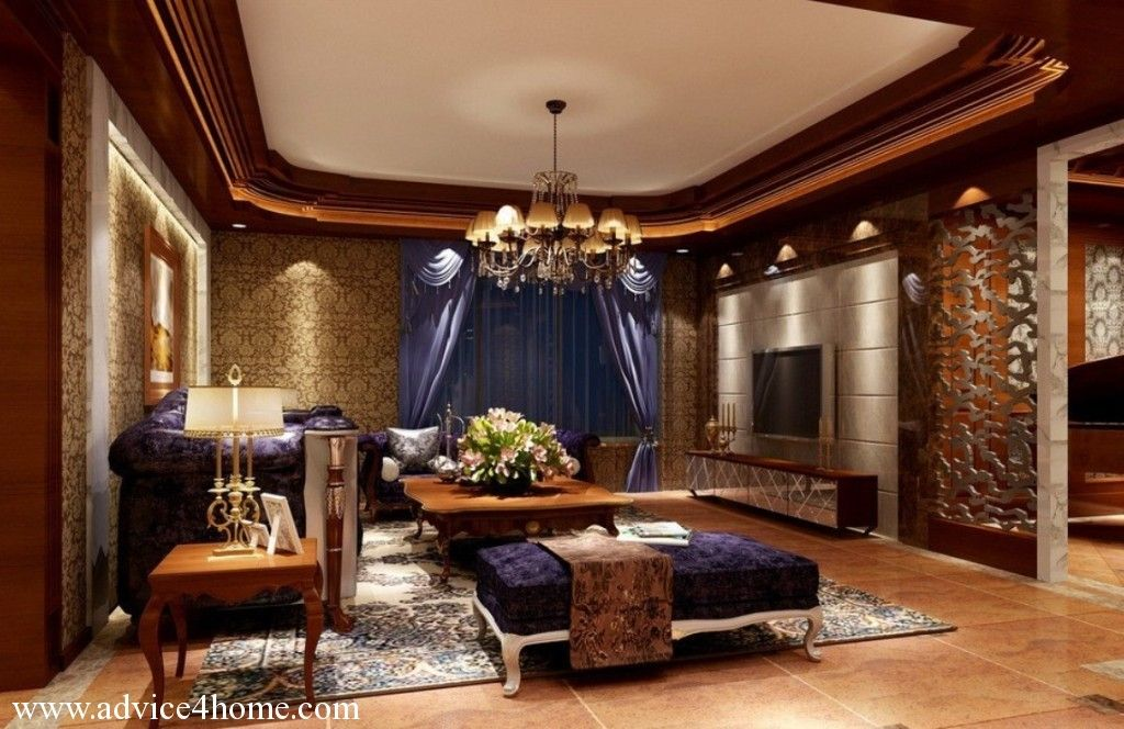 Brown Living Room Design interior. brown white pop ceiling with molded border design and