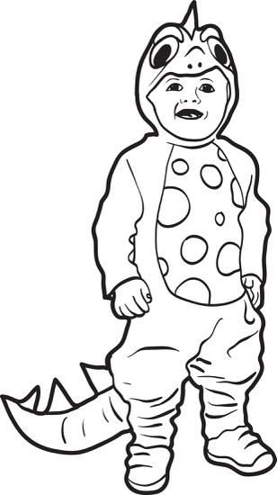 Printable Halloween Coloring Page Of A Boy In A Dinosaur Costume