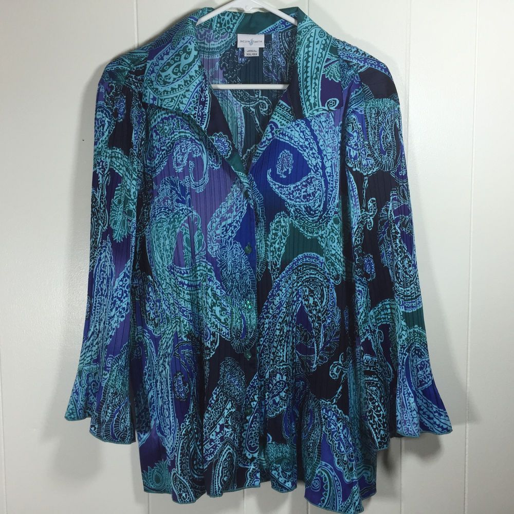97f00d7daa6 Womens XXL 2XL Jaclyn Smith Blue Top Pleated Paisley Flare Button Blouse  Shirt