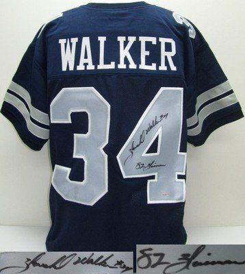 buy popular 32c8d da6e8 Herschel Walker Signed Dallas Cowboys Custom Blue Jersey 82 ...