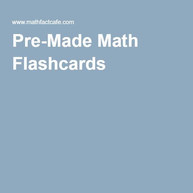 Pre-Made Math Flashcards | School Help | Pinterest | Math worksheets ...