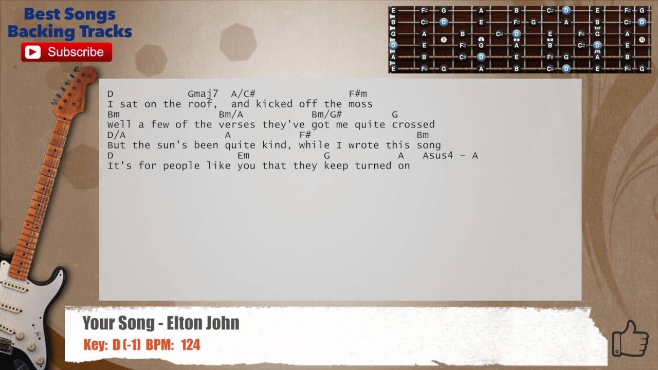 Your Song Elton John Guitar Backing Track With Chords And Lyrics